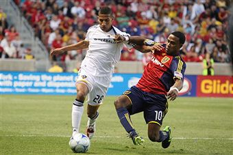 Sean Franklin and the Galaxy defense will need to slow down Robbie Findley. (Getty Images)