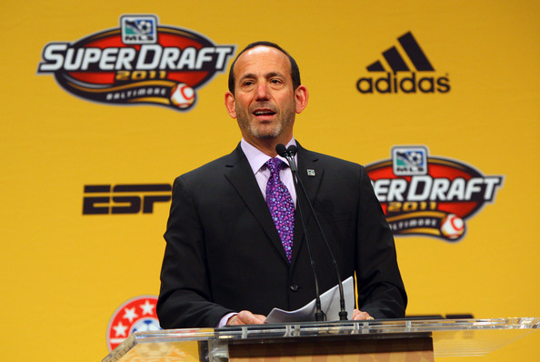 Don Garber addresses the media at the 2011 MLS SuperDraft. (Getty Images)