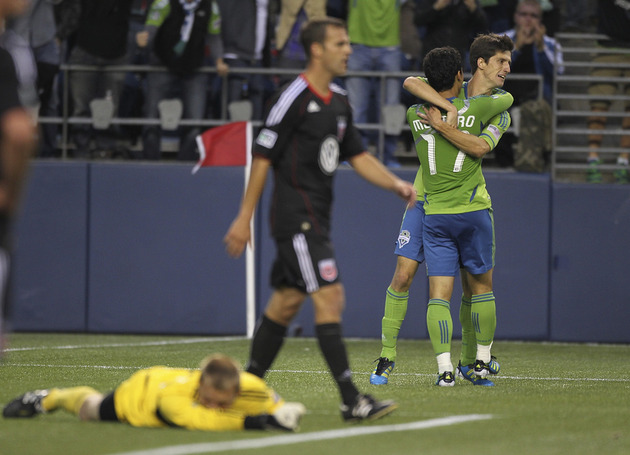 Fredy Montero and Alvaro Fernandez were a big part of the Seattle offense in 2011. (Getty Images)