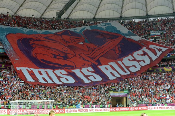 Russian fans display a giant banner in t