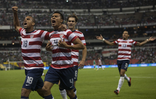 Michael Orozco and the US celebrate the game-winner against Mexico. (Getty Images)