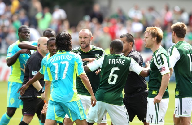 Expect a dog fight in Seattle between the Timbers and Sounders. (Getty Images)