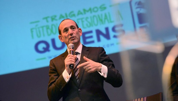 Don Garber addresses the crowd in Queens. (Photo via MLS)