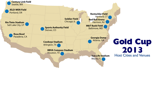 2013 Gold Cup Map (Photo via CONCACAF)