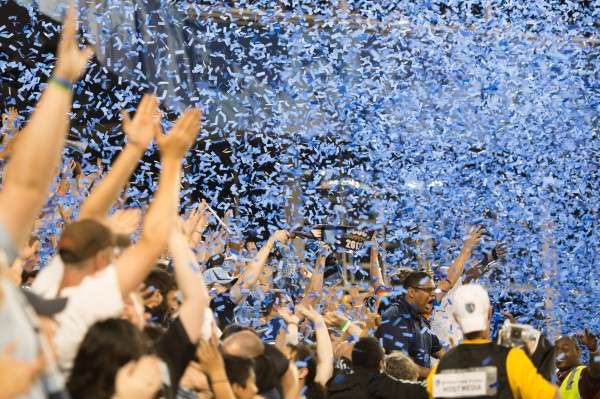 Sporting KC fans celebrate moving on to the fourth round. (Photo by Mark Shaiken - WVHooligan staff photographer)