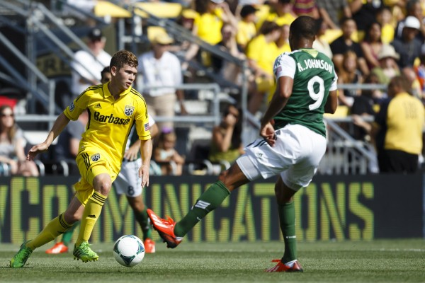 Wil Trapp (left) helped lead Columbus over Portland this past weekend. (Rick Osentoski-USA TODAY Sports)