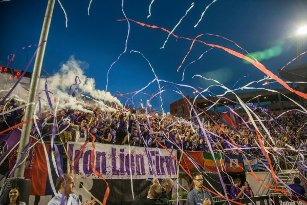 Orlando fans celebrate their USL title. (Mark Thor)