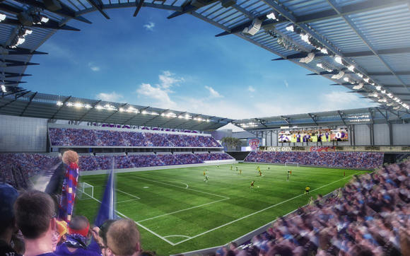 An artist's rendering of Orlando's proposed Major League Soccer stadium was released by architecture firm Woods Bagot. (September 30, 2013)