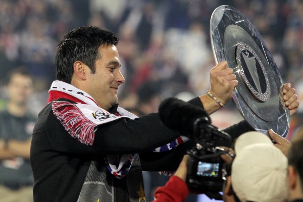 Mike Petke and New York celebrated with their first trophy yesterday. ( Brad Penner-USA TODAY Sports)