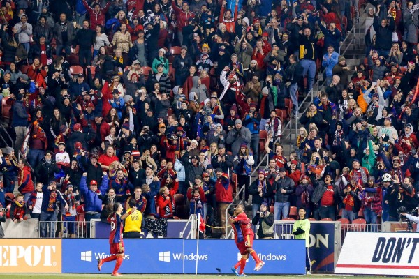 Salt Lake celebrated in style last night. (Chris Nicoll-USA TODAY Sports)