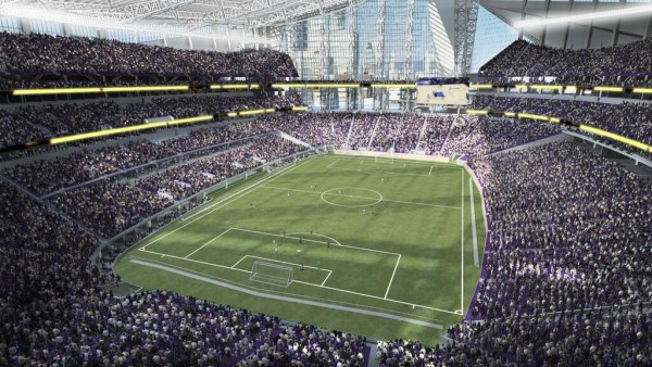 What a soccer game would look like at the new Vikings stadium. (photo via MLS4mn.com)