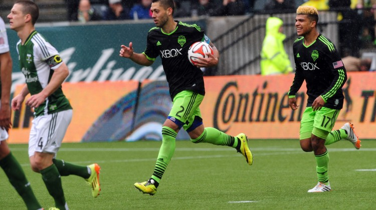 Clint Dempsey and Seattle found ways to earn a draw in Portland. (Photo by Steve Dykes/Getty Images)